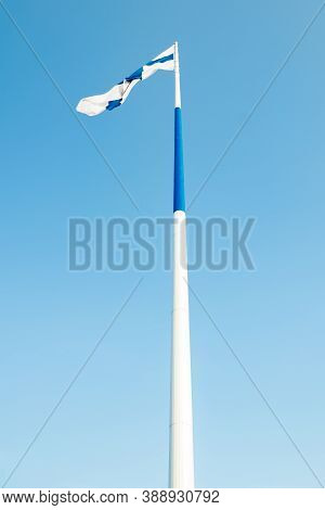 The Largest Finnish Flag In The World And The Tallest Flagpole In Europe Against Blue Sky, Hamina, F