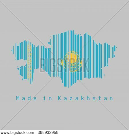 Barcode Set The Shape To Kazakhstan Map Outline And The Color Of Kazakhstan Flag On Grey Background,