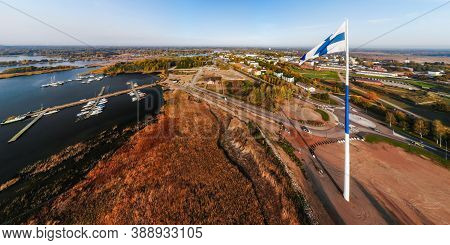 Aerial Panoramic View Of The Largest Finnish Flag In The World And The Tallest Flagpole In Europe Ag