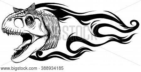 Dinosaurus Carnosaur Head Art Vector Illustration Design