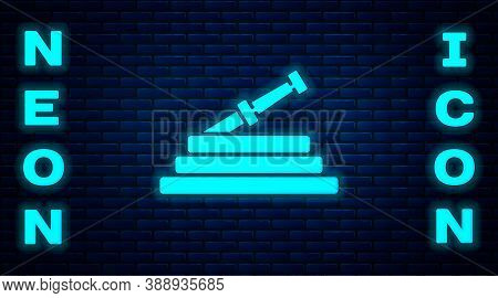 Glowing Neon Garden Hose Or Fire Hose Icon Isolated On Brick Wall Background. Spray Gun Icon. Wateri