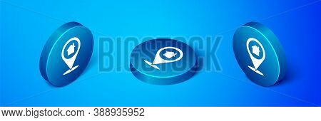 Isometric Map Pointer With House Icon Isolated On Blue Background. Home Location Marker Symbol. Blue