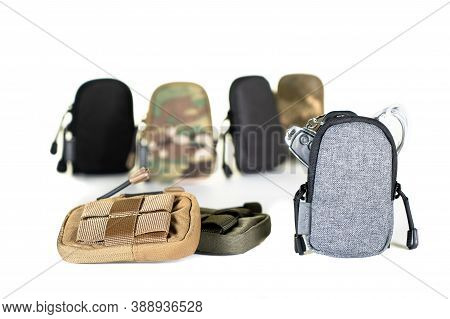 Backpack Bag Gear Protective Color Khaki, Tactical Sports Equipment Isolated On White Background