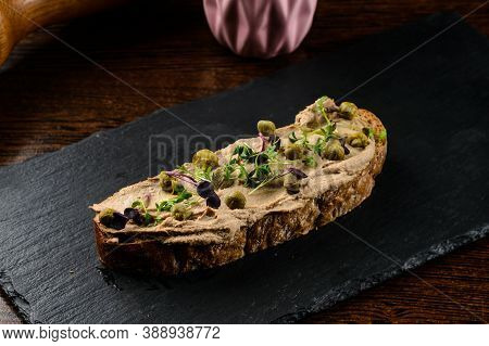 Fish Pate With Fresh Capers On Toast, Close Up Sandwich With Pate And Capers, Foie Gras Bruschetta O