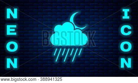 Glowing Neon Cloud With Rain And Moon Icon Isolated On Brick Wall Background. Rain Cloud Precipitati