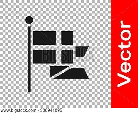 Black Flag Of England On Flagpole Icon Isolated On Transparent Background. Vector