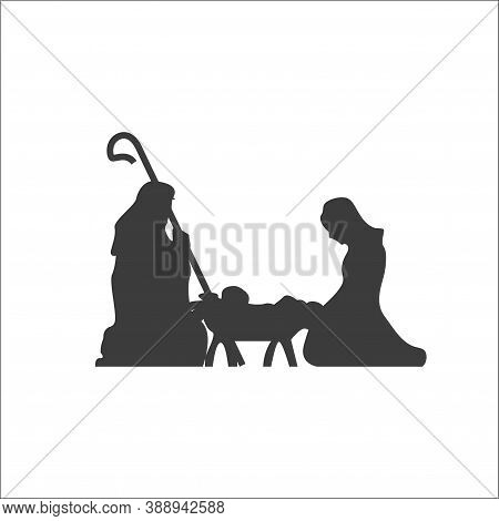 Christmas Scene, Christianity Birth Of Baby Jesus. Mary And Joseph, Manger Holiday Silhouette. Vecto