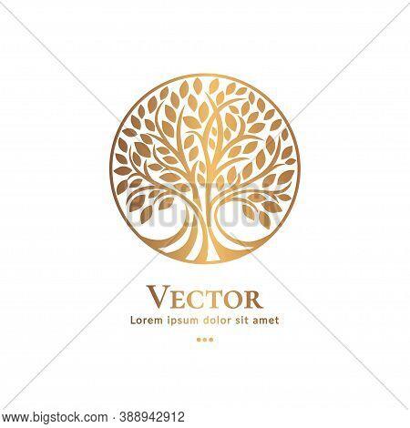 Tree Emblem On A White Background. Modern Illustration. Isolated Vector. Great For Logo, Monogram, I