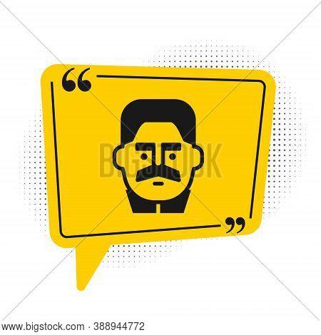 Black Portrait Of Joseph Stalin Icon Isolated On White Background. Yellow Speech Bubble Symbol. Vect