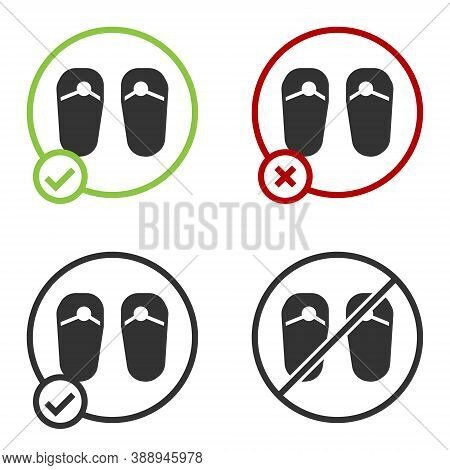 Black Flip Flops Icon Isolated On White Background. Beach Slippers Sign. Circle Button. Vector