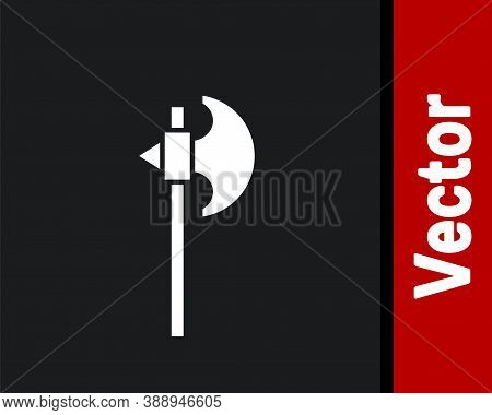 White Medieval Axe Icon Isolated On Black Background. Battle Axe, Executioner Axe. Medieval Weapon.