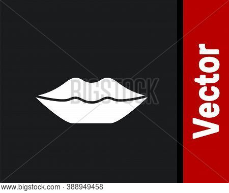 White Smiling Lips Icon Isolated On Black Background. Smile Symbol. Vector