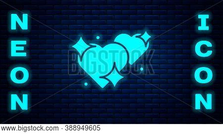 Glowing Neon Two Linked Hearts Icon Isolated On Brick Wall Background. Romantic Symbol Linked, Join,