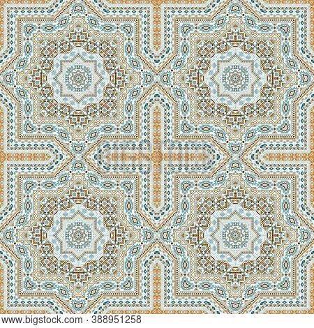 Ornate Portugese Azulejo Tile Seamless Rapport. Geometric Texture Vector Motif. Curtains Print Desig