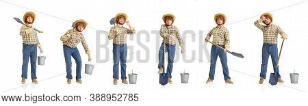 Handsome Farmer, Rancher Isolated On White Background. Concept Of Professional Occupation, Work, Job