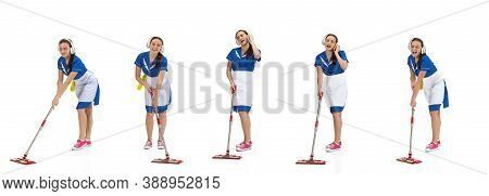 Portrait Of Female Made, Housemaid, Cleaning Worker In White And Blue Uniform Isolated Over White Ba