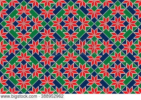 Winter Holiday Pixel Pattern With Christmas Stars. Vector Seamless Holiday Design Background. Scheme