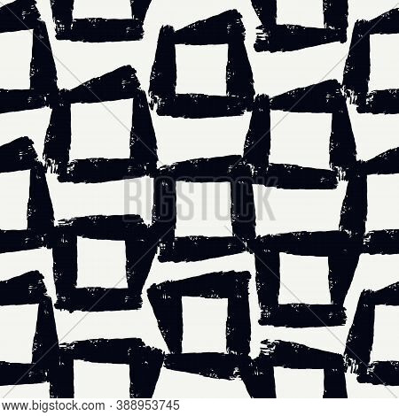 Paint Brush Strokes Seamless Pattern. Freehand Grunge Design Background. Squares Motif Modern Minima