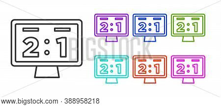 Black Line Sport Mechanical Scoreboard And Result Display Icon Isolated On White Background. Set Ico