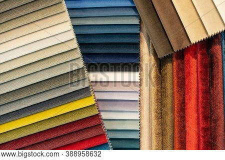 Catalog Of Multi-colored Fabric Samples. Textile Industry Background. Tissue Catalog