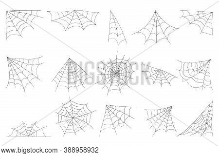 Cobweb Collection Isolated On White Background. Line Art, Sketch Style Spider Web Elements, Spooky,