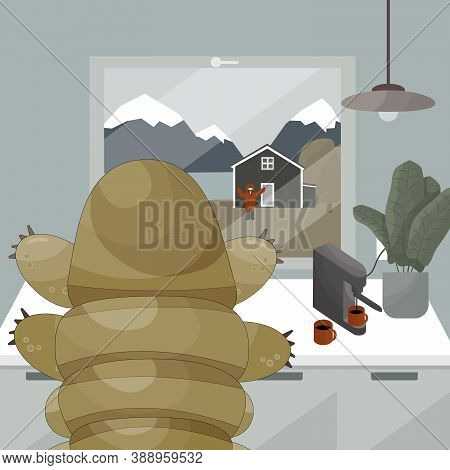 Tardigrade With Coffee Machine Is Waving Hands To Human Who Is Out Of The Home, Get Out Of Comfort Z