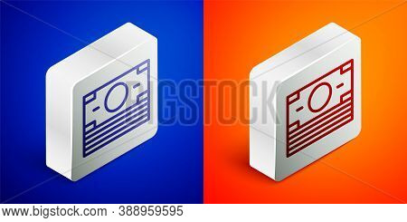 Isometric Line Stacks Paper Money Cash Icon Isolated On Blue And Orange Background. Money Banknotes