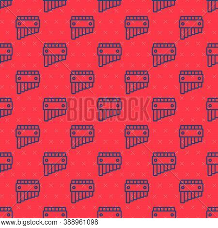 Blue Line Pan Flute Icon Isolated Seamless Pattern On Red Background. Traditional Peruvian Musical I