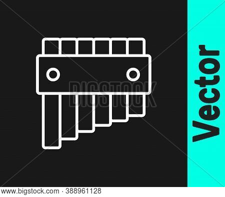 White Line Pan Flute Icon Isolated On Black Background. Traditional Peruvian Musical Instrument. Fol