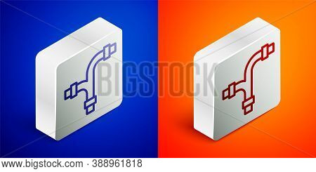 Isometric Line Industry Metallic Pipe Icon Isolated On Blue And Orange Background. Plumbing Pipeline