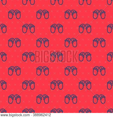 Blue Line Flip Flops Icon Isolated Seamless Pattern On Red Background. Beach Slippers Sign. Vector
