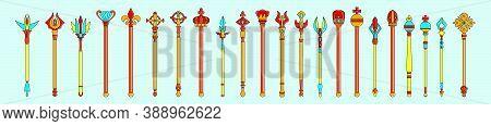 Set Of Scepter. Symbol Of Monarchy Modern Design Template With Various Models. Vector Illustration I