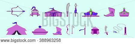 Set Of Country Mongolia Modern Cartoon Icon Design Template With Various Models. Vector Illustration