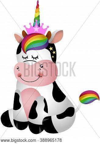 Scalable Vectorial Representing A Cute Cow Sitting With Unicorn Horn, Element For Design, Illustrati