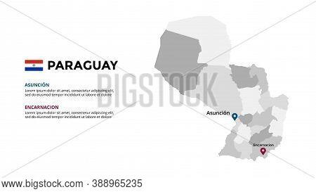 Paraguay Vector Map Infographic Template. Slide Presentation. Global Business Marketing Concept. Sou
