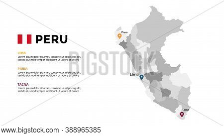 Peru Vector Map Infographic Template. Slide Presentation. Global Business Marketing Concept. South A