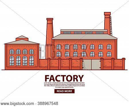 Industrial Factory Warehouse .factory Building.flat Vector.old Vintage Plant.