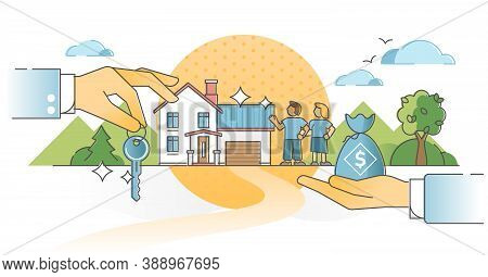 Mortgage Home Purchase With Money And Key Exchange Process Outline Concept. Couple Property Ownershi