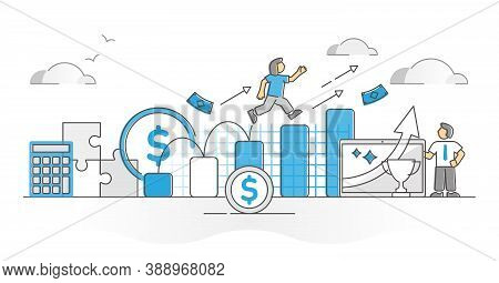 Business Growth With Income And Profit Successful Progress Monocolor Outline Concept. Wealth And Mon