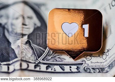 Like Heart Symbol On Dollar. Like Sign Button, Symbol With Heart And One Digit. Buy Followers For So