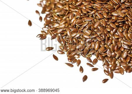 Flaxseed, Linseed Isolated. Bunch Of Linum Usitatissimum - Common Flax Seeds. Healthy Vegetarian Nut