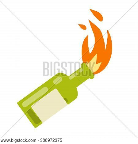 Molotov Cocktail. Fire And Bottle. The Rebel Symbol And The Riot. Cartoon Flat Illustration Isolated