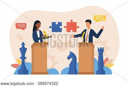 Abstract Negotiation Concept. Political, Diplomatic Or Business Negotiations. A Woman And A Man Are