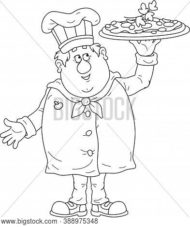 Smiling Fat Cook In A Hat And Uniform For Cooking, Standing And Holding A Round Dish With A Freshly