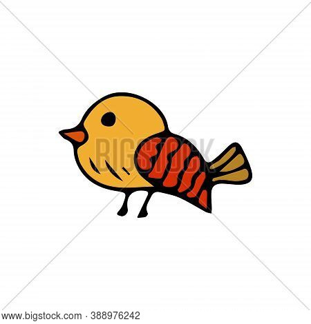 Vector Flat Image Of A Sparrow In Autumn Colors On A White Background. Bird Icon.