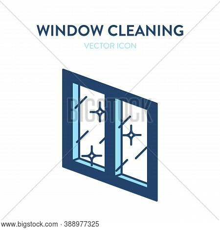 Clean Window Vector Icon. Vector Illustration Of A Crystal Clear Shiny Window. Windows Cleaning Serv