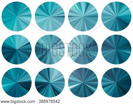 Concentric Metallic Gradient Ux Button Elements Vector Set. Isolated Cool Swatches. Button Metal Sur