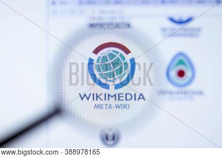 New York, Usa - 29 September 2020: Wikimedia Meta-wiki Company Website With Logo Close Up, Illustrat