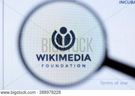 New York, Usa - 29 September 2020: Wikimedia Foundation Wikimedia.org Company Website With Logo Clos