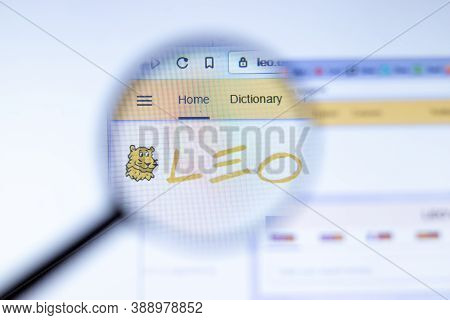New York, Usa - 29 September 2020: Leo.org Leo Company Website With Logo Close Up, Illustrative Edit